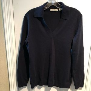 Neiman Marcus Navy Cashmere V-neck Sweater L